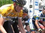 Zak Dempster in yellow at stage 2 start