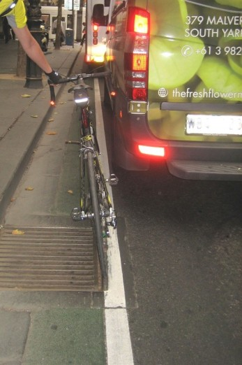 The infamous Collins St 'bike lane' with bonus wheel gripper