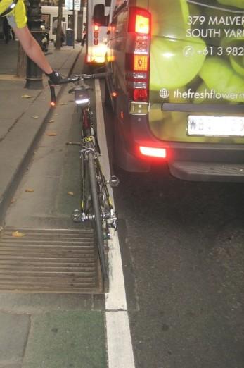 The infamous Collins St 'bike lane' with bonus wheel gripper